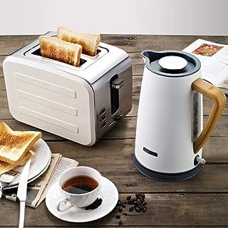 Mini machine à pain automatique Grille-pain Grille-pain en acier inoxydable Set-Blanc 01 (Grille-pain + bouilloire) 8bayfa...