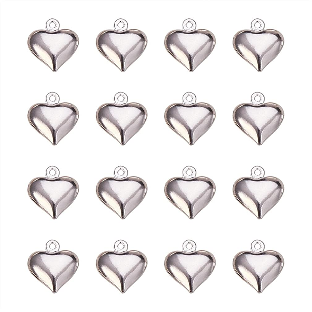PandaHall Elite 50 Pcs Brass Heart Charm Pendants 13x11.5x4.5mm for Jewelry Making Silver