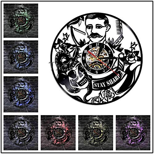 1 Stück Friseursalon Friseursalon Logo Werkzeug Kamm Schere Rasiermesser LED dekorative Beleuchtung Schönheitssalon Wanduhr LED Kronleuchter 12 Zoll mit LED-Licht
