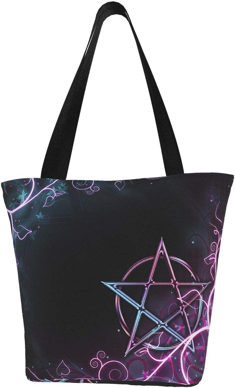 Purple Wicca Wiccan Star Pentagram Themed Printed Women Canvas Handbag Zipper Shoulder Bag Work Booksbag Tote Purse Leisure Hobo Bag For Shopping