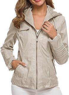 Yczx Womens Faux Leather Jackets Zipper Hoode Jackets Windbreaker Classic Leather Outwears Motocycle Modern Outwear Coats ...