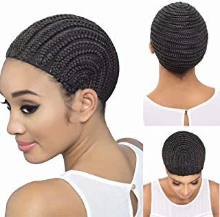FEEL ME Braided Cap Made for Crochet Braids or Hair Weaves 1 Piece Crochet Braided Wig Caps in Cornrow Sew Hair for Making Wigs Easier Sew In Caps Medium Size