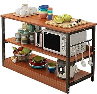 Rangement Cuisine Organisateur étagère Montage simple Spice rack Organisateur Poste de travail, 3-Tier Utility Rack Cuisin...