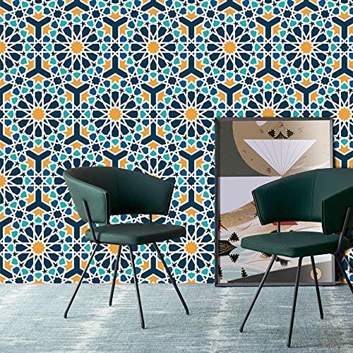 Papel Pared Elegante Azul/Naranja Enrejado Mosaico Autoadhesivo encolado Impermeable Papel Tapiz de Pared Mural 3Mx45cm