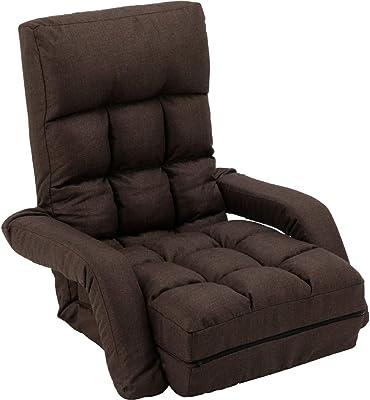 アイリスプラザ 椅子 チェア 座椅子 コンパクト 折りたたみ 収納 リクライニング 肘掛け ひじ掛け コンパクト座椅子 CTSC-70 ブラウン 70×72~172×16~69cm