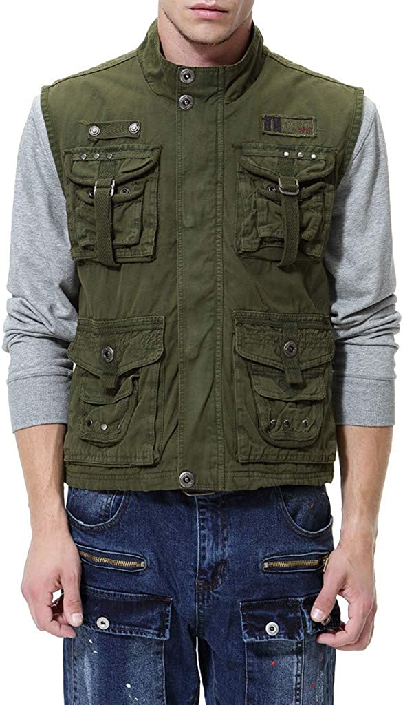 NIUQI Men's Multi-Pocket Jacket New Solid Color Outerwear Lapel Outdoor Climbing Vest