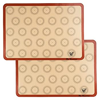Silicone Macaron Baking Mat - Set of 2 Half Sheet  Thick & Large 11 5/8  x 16 1/2   - Non Stick Silicon Liner for Bake Pans & Rolling - Macaroon/Pastry/Cookie Making - Professional Grade Nonstick