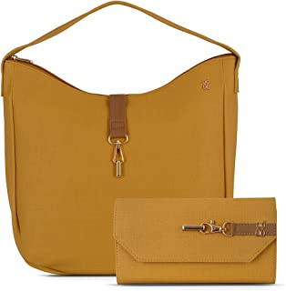 Baggit Spring-Summer 2021 Faux Leather Women's Handbag With Wallet (Yellow) (Peony Erica)