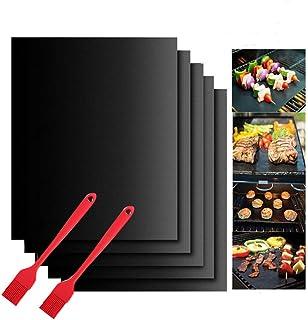 Tapis de Cuisson Barbecue,5 PcsTapis Barbecue Set-40x50cm,feuille de cuisson reutilisable,feuille teflon,pour Barbecue à G...