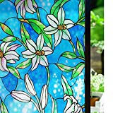 LMKJ Electrostatic Glass Patch Lily Without Glue Privacy Protection Decorative Dyeing Anti-Ultraviolet Reusable Window Film A20 60x100cm