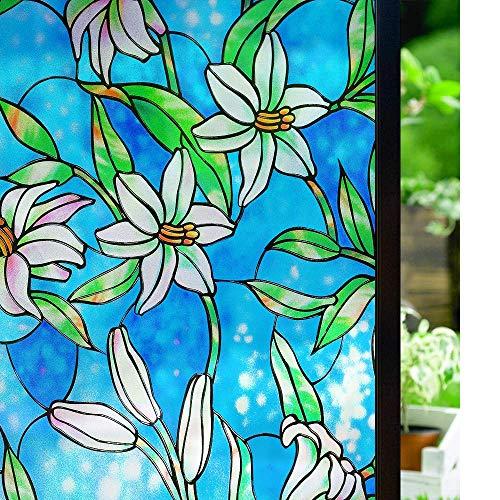 LMKJ Pegatina de Ventana de teñido con patrón de Lirio, película Adhesiva estática, película Opaca para Puerta de Ventana, Armario, Escritorio, gabinete, película A48 40x100cm