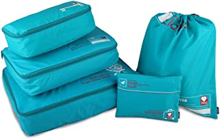 GOX Ultra Light 5 piece Packing Cubes Travel Luggage Organizers Packing Organizers (Turquoise)