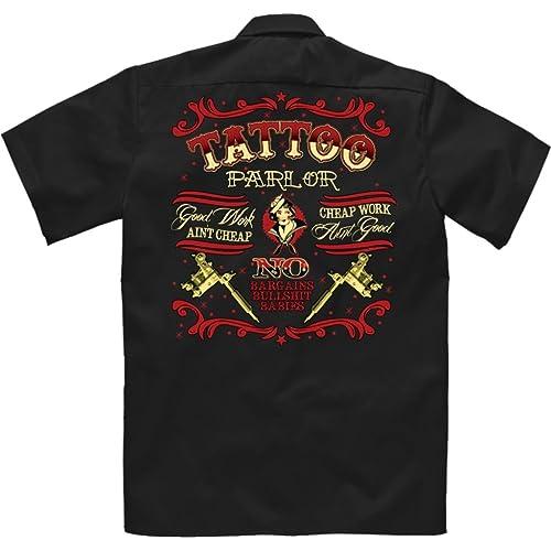 c00949101e2 Velocitee Speed Shop Mens Mechanic Garage Work Shirt Tattoo Parlour  Tattooist Rockabilly W17718