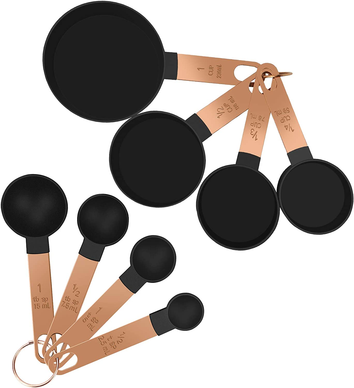 8-Piece Measuring Spoons Black Handle Gold Long Beach Max 66% OFF Mall Cups