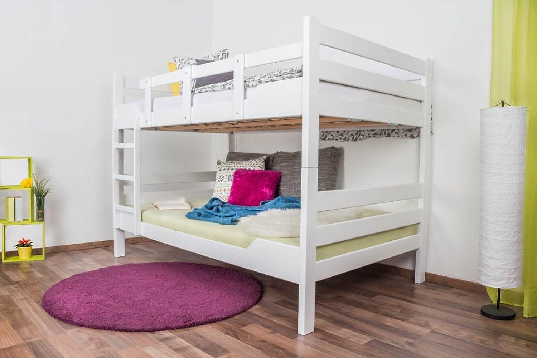 Etagenbett für Erwachsene Easy Premium Line  K16 n, Kopf- und Futeil gerade, Buche Vollholz massiv wei lackiert - Liegeflche  120 x 190 cm, teilbar