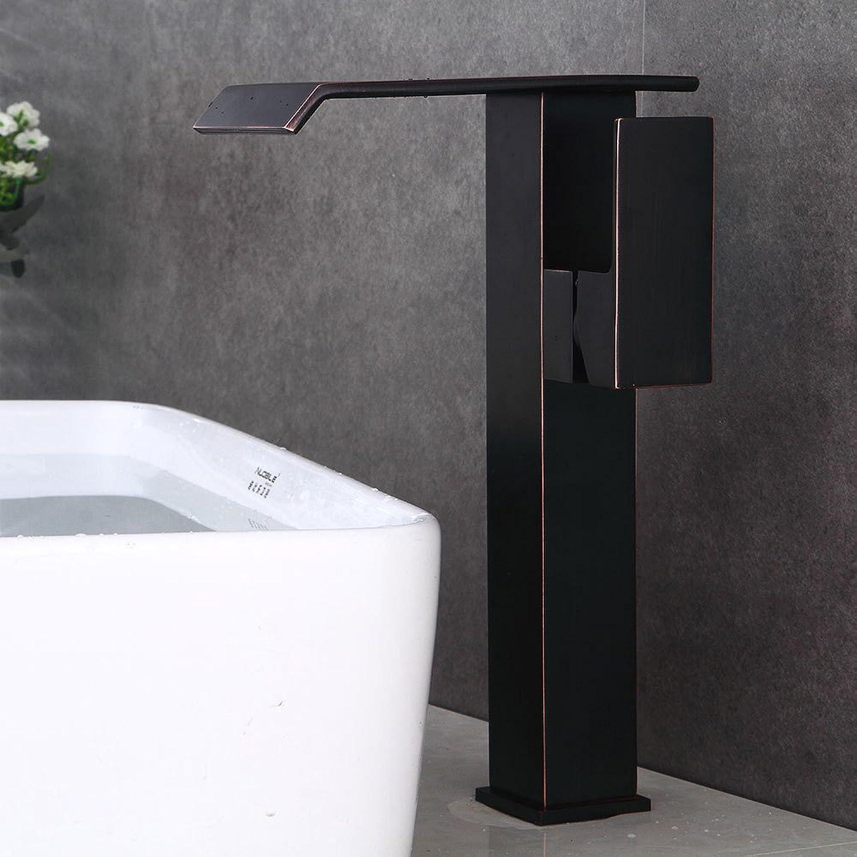 Bathroom Sink Taps Faucet Basin Faucet,Black Bronze Faucet European Basin High Rise Faucet Copper Hot and Cold Faucet