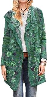 desolateness Women's Long Sleeve Knit Outwear Open Front Pockets Long Print Cardigan Coats