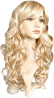 ROLECOS Womens Long Wavy Wigs Fashion Curly Synthetic Hair Wig Blonde