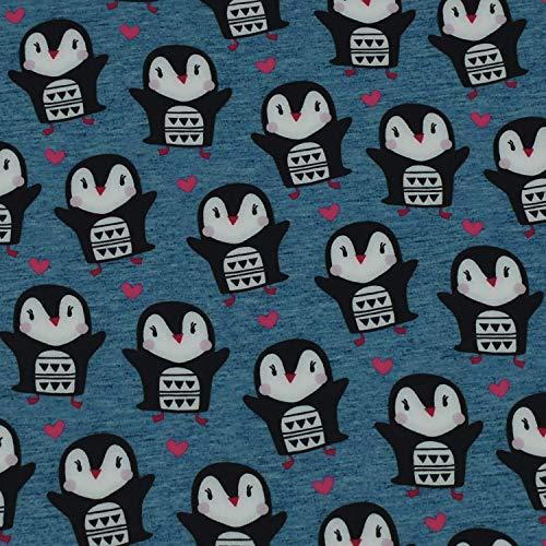 Softshell Pinguine mit Herz, wind- und wasserabweisend, jeansblau (50cm x 145cm)