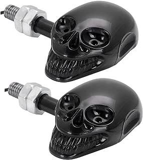 2x Amber Skull Style 4 LED Black Casing Housing Turn Signal Indicator Lights For Cruiser Bobber Chopper Street Sport Touring Bike
