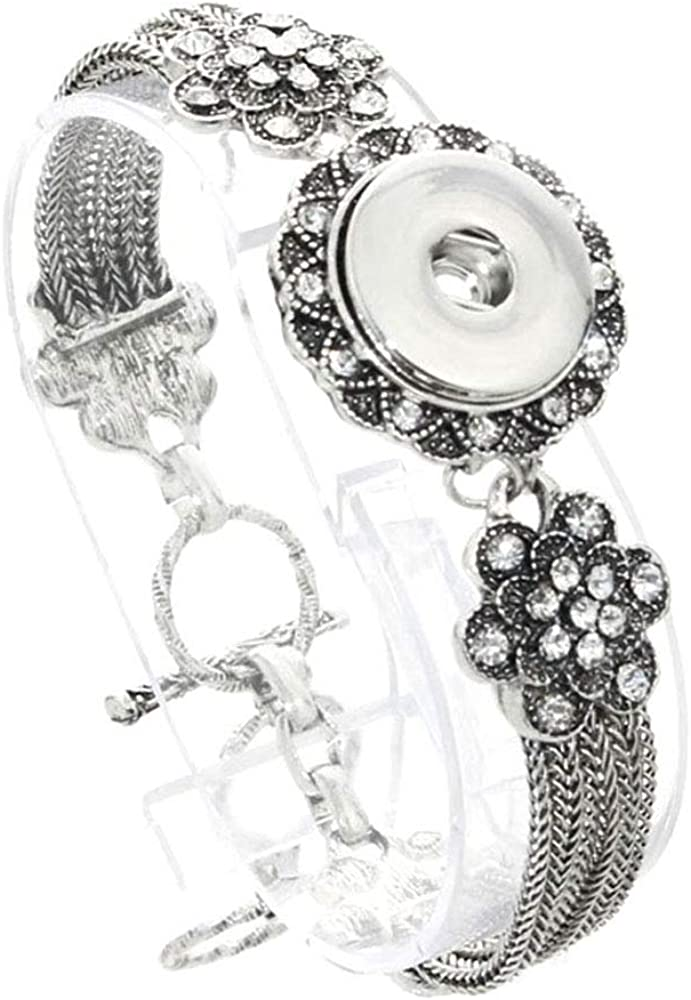 Lots Style Bling Crystal Chunk Charm Snap Button Fit 18mm Drill Noosa Jewelry