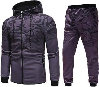 Riou Tuta Sportiva e Zip Uomo Maniche Lunghe Giacca con Coulisse Pantaloni Autunno Inverno Sportivo Abbigliamento