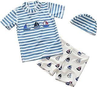 Cozy Maker(C&M)水着 子供 男の子 幼児 3点セット 水泳 運動 半袖 キッズ スイムウェア プール 海 ビーチ 旅行 かわいい 帽子付き ボーター 花柄 UVカット ボーイズ