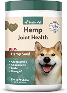 NaturVet – Hemp Joint Health for Dogs - Plus Hemp Seed – Supports Overall Joint Health – Enhanced with Glucosamine, MSM, Chondroitin & Antioxidants