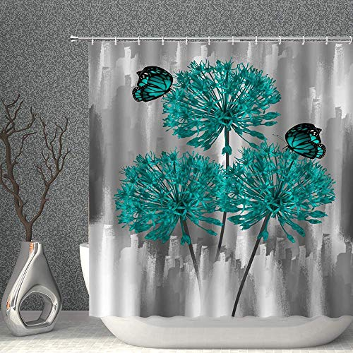 FHUA Cortina de Ducha Decoración Floral Cortina de Ducha Gris Verde azulejo Mariposa Planta Primavera Planta Diente de Leal Tela poliéster Cortinas de baño con Ganchos 70x70 Pulgadas