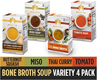 Bone Broth Soup, Tomato, Miso, Butternut Squash, and Thai Curry by Kettle & Fire, Pack of 4, Gluten Free, Collagen Soup on the Go, 16.9 fl oz