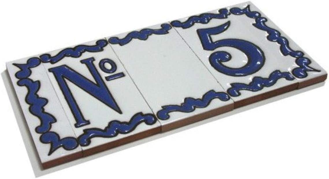 Tama/ño del marco: 10 cm de alto x 10 cm de ancho Dise/ño Azul Espa/ñol N/úmeros de casa Azulejos Cer/ámicos Letras y Marcos marco de 2 azulejos