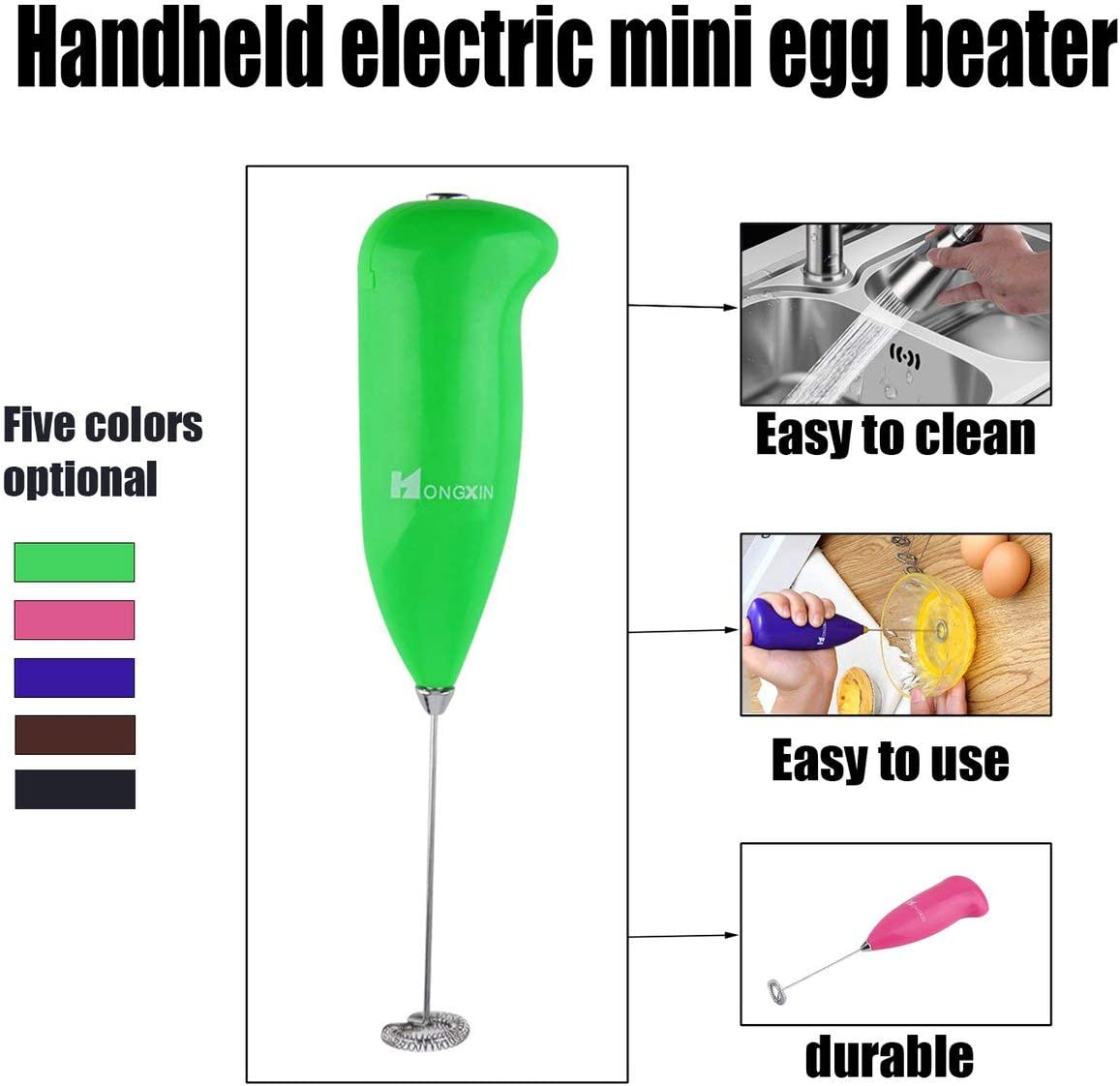 Coffee EmNarsissus Mini Plastic Stainless Steel Coffee Milk Electric Whisk Mixer Frother Foamer Kitchen Egg Beater Handheld Kitchen Tools