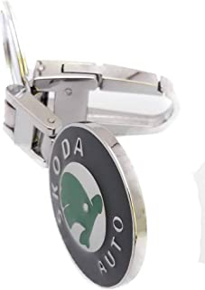 SKODA keychain from metal, nickel plated double face logo with clasp