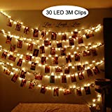 LED Foto Clips Lichterketten Warmweiß, SanGlory LED Lichterkette mit 30 Clips, 3 Meter Poto...
