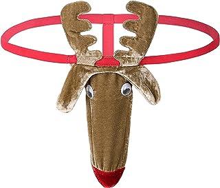KKmeter Men's Christmas Gag Gifts Reindeer Pattern Costume Mankini G-String Thong Underwear Brown