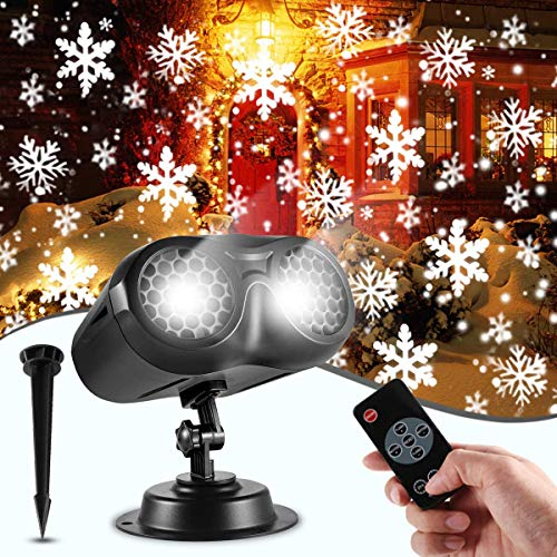 GreenClick Christmas Projector Lights, Upgraded LED Rotating Snowflake Projector Lights with Remote Control, IP65 Waterproof Christmas White Snow Projector for Xmas Wedding Holiday