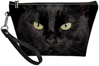 Showudesigns Cat Black Makeup Bag Cosmetic Case Toiletry Kit Handy Bags PU Leather Storage Handag