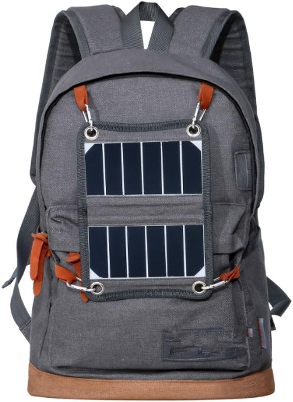 HJFBW Im Freien Kampierende Reisesolarrucksackmnner Und -Frauen Beilufige Solardenim-Sporttasche Mit LED-Lichtern