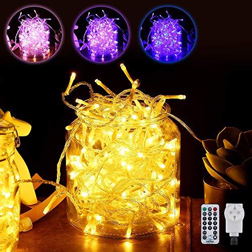 LED Lichterkette Außen, Lichtvorhang mit 11 Modi Fernbedienung (warmweiß und blau, 20M 200 LED
