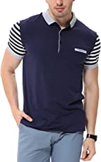 fanideaz Men's Cotton Navy Blue Striped Polo T Shirt with Collar and Pocket