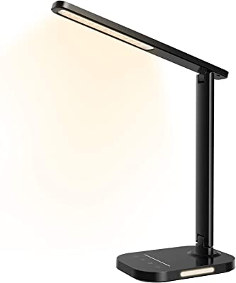 Lámpara de escritorio LED con luz nocturna, lámpara de mesa, 10 luminosidad y 5 modos de iluminación, lámpara de lectura con puerto de carga USB y temporizador para lectura, oficina, estudio