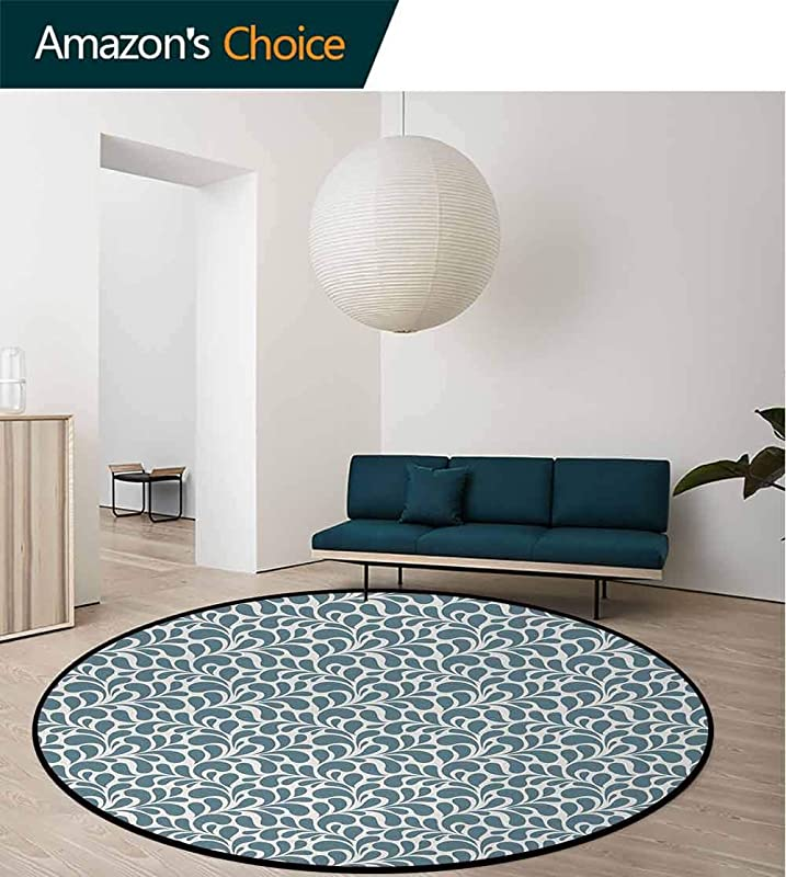 DESPKON HOME Abstract Small Round Rug Carpet Dark Colored Leaves With Curvy Swirly Design Nature Inspired Ornament Door Mat Indoors Bathroom Mats Non Slip Diameter 71 Inch Slate Blue Pale Grey