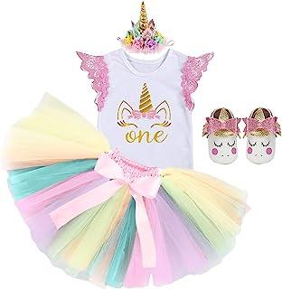 FMYFWY Baby Girls Unicorn Cake Smash 1st Birthday Princess Outfits Cotton Romper Rainbow Tutu Skirt Unicorn Headband (Shoes)