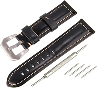 Beauty7 22mm Black Oil-Tan Genuine Leather Strap Watch Band Replacement Kit Stainless Steel Buckle