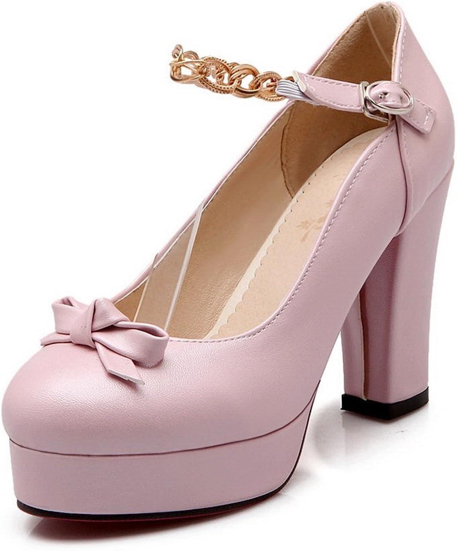 BalaMasa Ladies Bows Chunky Heels Metal Buckles Urethane Pumps shoes