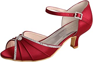 Wedopus MW033B Women's Peep Toe Mary Jane Low Heel Pleated Rhinestones Satin Wedding Prom Shoes