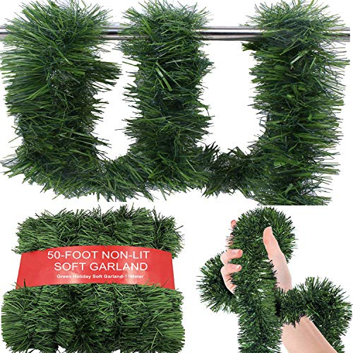 WDSF 50-Foot Soft Green Garland for Christmas Decorations - Non-Lit Soft Green Holiday Decor for Outdoor or Indoor Use - Premium Quality Home Garden Artificial Greenery or Wedding Party Decorations.