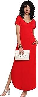 MBJ Women's Summer Casual Loose Pocket Long Dress Short Sleeve Split Maxi Dresses