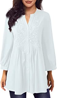 Women Long Sleeve Notch Neck Pleated Loose Blouse Tunic Top