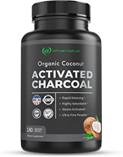 Sponsored Ad - Whole Nature Pure Organic Coconut Activated Charcoal Supplements, 1120 mg per Serving / 180 Vegan Capsules ...